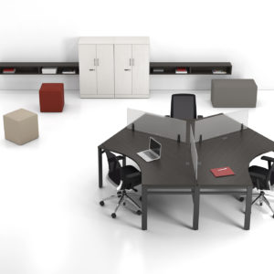 Angled Workstations with Acrylic Privacy Screens