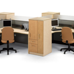 Uni-T Workstations with Wardrobe Cabinets