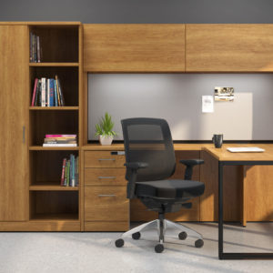 L-Shaped Workstation with Open and Closed Storage